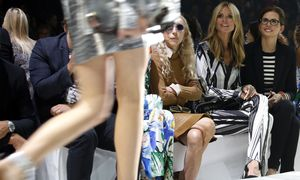 German model Heidi Klum and Vogue Italia Editor-In-Chief Franca Sozzani attend the Roberto Cavalli Spring/Summer 2015 collection during Milan Fashion week / Bild: (c) REUTERS (ALESSANDRO GAROFALO)