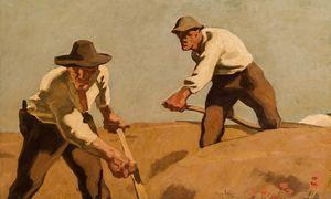 ''Drei Schnitter'', um 1921 von Albin Egger-Lienz / Bild: (c) Im Kinsky