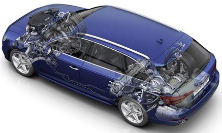 Röntgenblick auf den 170 PS starken Audi A4 Avant g-tron, der ab 2016 mit Erdgas und Benzin fährt. / Bild: (c) Werk
