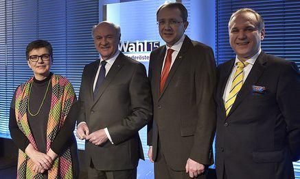 Landesparteisprecherin NÖ Madleine Petrovic (Grüne), Landeshauptmann NÖ Erwin Pröll (ÖVP), Landesparteivorsitzender NÖ Matthias Stadler (SPÖ).Landesparteiobmann NÖ Walter Rosenkranz (Ö) / Bild: APA/HANS PUNZ
