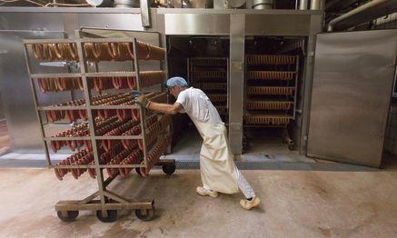 Viele Osteuropäer bekommen in Deutschland Jobs, die unter ihrer Qualifikation liegen – wie hier in einer Wurstfabrik. / Bild: (c) Bloomberg (Martin Leissl)