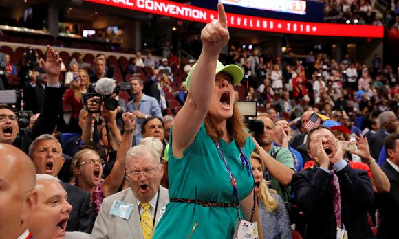 An opponent of the Republican National Convention Rules Committee´s report and rules changes screams at the Republican National Convention in Cleveland