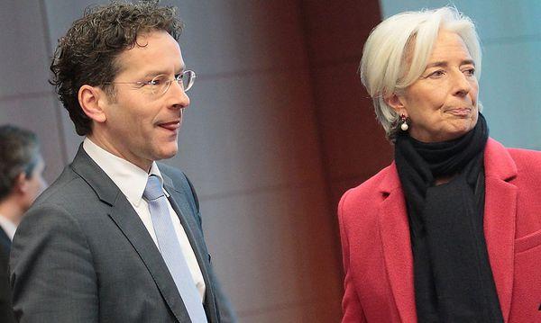 Eurogruppen-Vorsitzender Dijsselbloem mit IWF-Chefin Christine Lagarde bei der Sitzung der Eurogruppe in Brüssel. / Bild: (c) EPA (OLIVIER HOSLET)