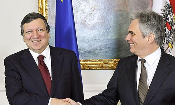 Barroso, Faymann / Bild: (c) EPA (Herbert Neubauer)
