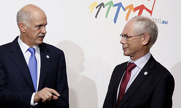 Papandreou mit Herman Van Rompuy / Bild: (c) AP (Virginia Mayo)