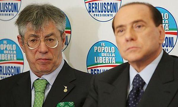 Die politischen Weggefährten und Streithähne Bossi und Berlusconi anno 2008 / Bild: (c) EPA (Alessandro Di Meo)