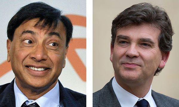 Lakshmi Mittal (li) und Arnaud Montebourg (re)  / Bild: EPA