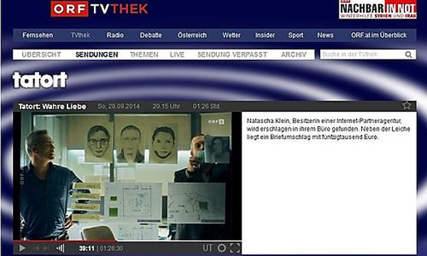 Die Kölner Kommissare Ballauf und Schenk vor den Phantombildern. Das mittlere stammt aus einem realen Mordfall / Bild: ORF TVThek