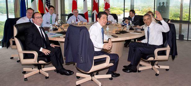 David Cameron, Francois Hollande, Justin Trudeau, Jean-Claude Juncker, Shinzo Abe, Donald Tusk, Matteo Renzi, Barack Obama und Angela Merkel  / Bild: (c) APA/AFP (CAROLYN KASTER)