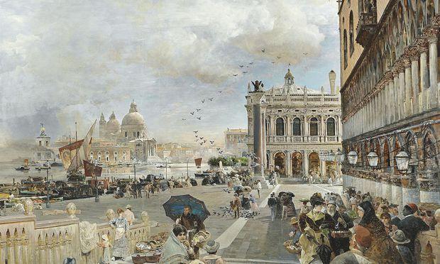 """Oswald Achenbachs Venedigansicht """"Blick auf die Piazzetta""""."""